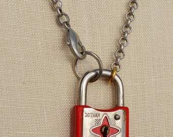 Small Red Padlock Necklace