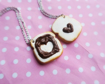 Chocolate on toast friendship necklaces, food jewelry, miniature food, birthday gift, friendship necklace, friend necklace, bff necklace