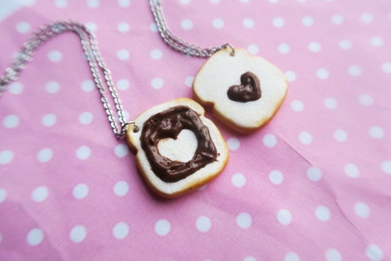 chocolate on toast friendship necklaces food jewelry