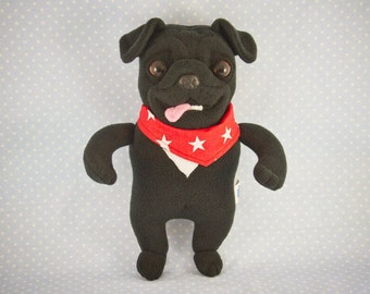 Black Pug in a Bandana, handmade soft art toy