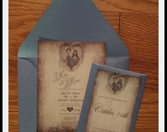 Rustic Corpse Bride Inspired Wedding Invitations -Vintage