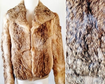 Vintage Dino Ricco Rabbit Fur Stylish Bomber Jacket. Medium