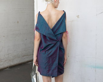 Iridescent Raw Silk Taffeta Back Wrap Dress Deep V Neck w/ Pink Suede Ties