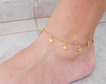 Summer SALE - Gold star anklet, Gold ankle bracelet