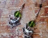 Woodland Bird Earrings, Bird Branch Earrings, Woodland Birds, Czech Bead Earrings