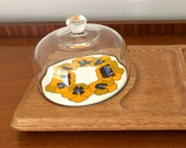 Glass dome cheese hors d'oeuvre appetizer plate