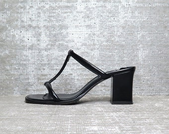 Vtg 90s Patent Leather DKNY Cage Minimal Arhitectural Chunky Sandals Shoes 6.5