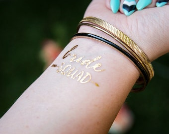 Bride Squad Bachelorette Party Favor   Bachelorette Tattoo   Gold tattoo   Bridal Party  Bridesmaid gift   Hen Party