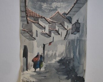 vintage Peru village alley watercolor gouache painting  small format decor