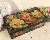 Stunning Large Floral Tin Box, Italian Biscuit Tin, Biscotti Wamar, Pink Roses Green, Flowers, Cottage Chic, Antique Tin Box, Vintage