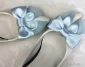 Blue Shoe Bows, Light Blue Bow Shoe Clips, Something Blue Wedding Accessories Shoes Clip, Blue Bow Clip Shoes