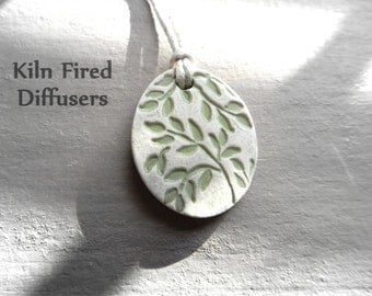 Handmade Essential Oil Diffuser NecklaceBotanical Aromatherapy White Clay NecklaceNatural Kiln Fired Pendant Healthy Living Gift for Her