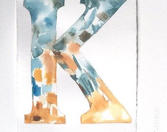 Watercolor letter painting, K letter artwork, nursery art, small watercolor 7,5'x11'/ Original watercolor, unisex gift