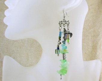 Artisan Single Earring, raw amazonit Aventurine earring, dangle single earring