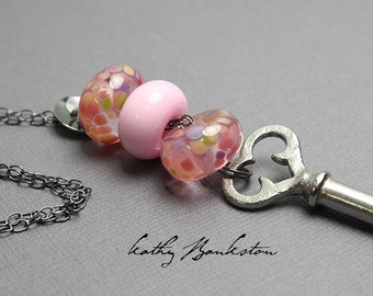 Pink Lampwork Necklace, Pink Beaded Necklace, Pink Lampwork Bead Necklace with Key, Long Pink Beaded Necklace, Kathy Bankston, Pink Necklace