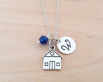 House Necklace - House Charm - Realtor Gift - Birthstone Necklace - Personalized Gift - Initial Necklace - Sterling Silver - Gift for Her