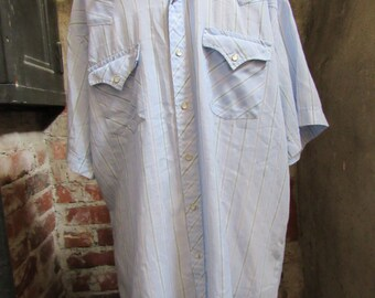 80s Striped Pale Blue Cowboy Shirt w/ Short Sleeves by Ely Cattleman, Men's M-L  // Vintage Country Western Shirt