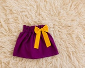 Plum Mustard Bow Skirt - Baby Girl