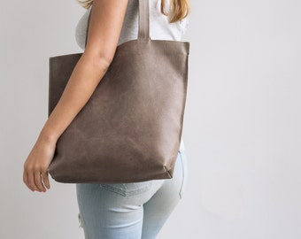 Leather Tote, Personalized Gift Bag, Brown Leather Tote Bag, Laptop Tote, Zipper Tote Bag, Women Leather Bag, Shoulder Bag, Handmade Leather