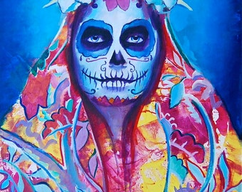 La Madre Day of the Dead Sugar Skull Dia De Los Muerto 12x18 Poster Mexican Print Wall Art Colorful Abstract Pop Art