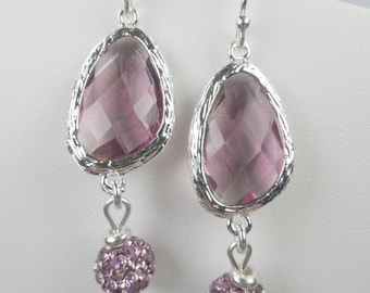 "Sterling Silver Shepherd Hook Earrings with SS Bezel Set Purple Crystals and Swaovski Pave Balls - 2"" Length"