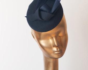 Unique Modern Navy Blue  French Fur Felt FASCINATOR. Pillbox Hat for Women