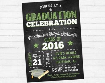 Graduation Party Invitation   Graduation Invitation   Graduation Chalkboard Invitation   Class of 2016 Invitation   Digital Invitation