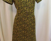 """Vintage 60s Funky Yellow and Brown Poly Knit Dress 44"""" Bust XL"""