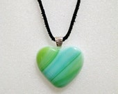 Heart Fused Glass Pendant - Blue Green Swirl - Heart Necklace - Glass Jewelry - Girlfriend Gift - Statement Jewelry - Valentines Day Gift