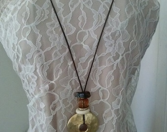 Vintage Necklace Gold Plated Boho Accessories Stones Costume Choker