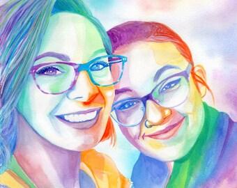LESBIAN GIRLFRIEND GIFT, couple portrait, custom photo gift for lesbian wedding anniversary, special gift, lgtb gift, gay gift, custom gift