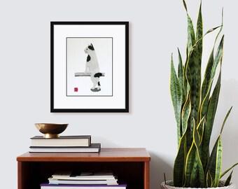 Bobtail Cat Art, Minimalist Cat, Cat Wall Art, Giclee Print, Modern Cat Pirnt, Bobtail