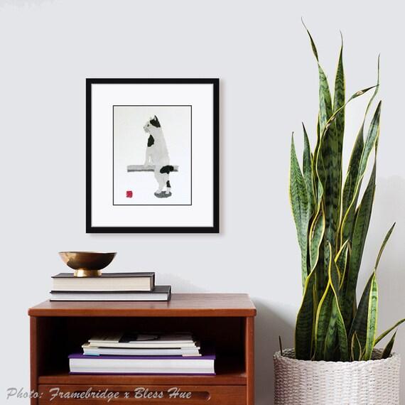 Cat Art, Minimalist Cat, Cat Wall Art, Giclee Print, Modern Cat Pirnt, Bobtail