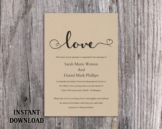 Burlap Wedding Invitations Diy: DIY Burlap Wedding Invitation Template By TheDesignsEnchanted