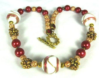 Red White Art Glass Crystal Necklace Vintage