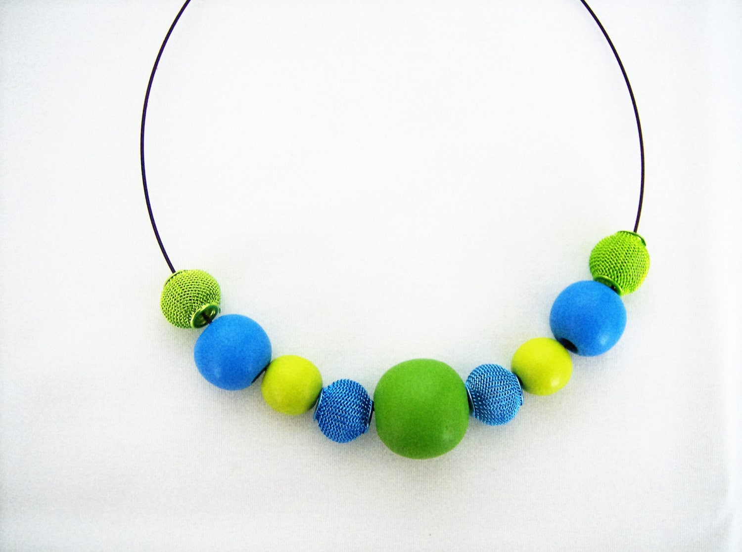 green and blue wooden beaded necklace lime green and blue