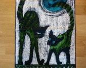 Midcentury Modern Hand Screened Wall Art / Scandinavian Wall Art / Scandinavian Fighting Cats