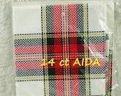 White, Red Black Tartan Plaid, 14 count Aida, Cross Stitch Cloth, Charles Craft, Hopscotch, Cotton Fabric, 15 x 15