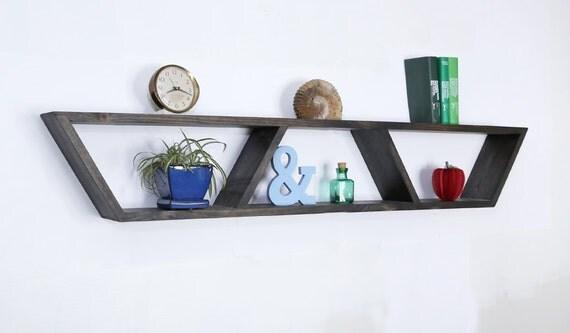 Floating Shelf Modern Shelf Geometric Shelf By Haasehandcraft