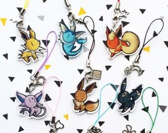 Acrylic clear charm Eevee evolutions (Pokémon)