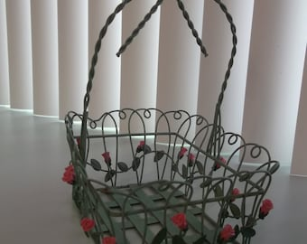 Wire Basket with Roses