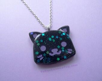 Black Starry Kitty Head Necklace- kawaii- Creepy Cute- Fairy Kei- Sweet Lolita- Gothic Lolita