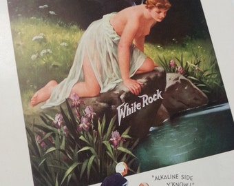 1935 White Rock print ad topless fairy woman