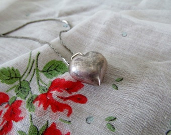 Vintage Valentine Sterling Silver Puffy Heart Pendant