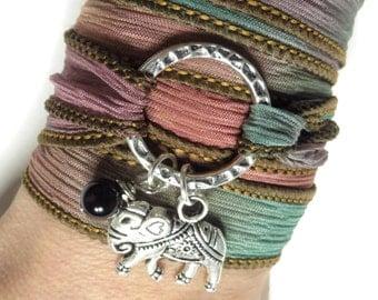 Silk Ribbon Wrap Bracelet  Sacred Elephant Karma Infinity Bracelet Yoga Jewelry Pink Yoga Bracelet Birthday Gift Christmas Stocking Stuffer