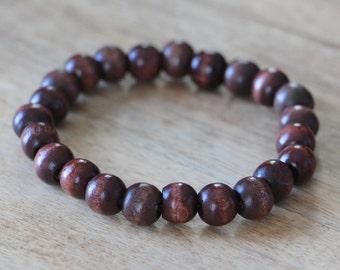 Men's Beaded Bracelet Wood Dark Color