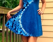 SALE! Tie-Dye Short Strappy Hippie Dress- Blue Curve