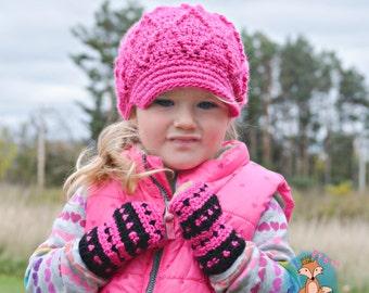 Fingerless Gloves, Crochet Mittens, Striped Fingerless Mittens, Crochet Wrist Warmers, Pink Black Mittens, Toddler Pink Mittens