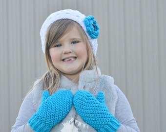 Custom Kids Mittens,   Crochet Twisted Mittens,   Warm Textured Mittens,   Made to Order