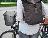 Brauner Canvas Rucksack ,Leder Rucksack, wasserabweisend, Laptop Tasche, große Tasche, Herren  Rucksack, Damen Rucksack, Rucksack, UNISEX
